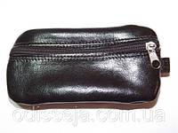 Ключница два отделения, темно-коричневая, натуральная кожа, размер 15х7 см