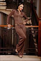 Женский трикотажный комбинезон с широкими брюками, разные цвета (размеры 42-50)