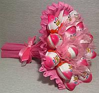 """Букет из шоколадных яиц """"Kinder Joy"""" Киндер джой 19 шт, цвет розовый"""