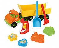 Игрушечная машинка Wader Грузовик City truck с прицепом и набором для песка (70380)