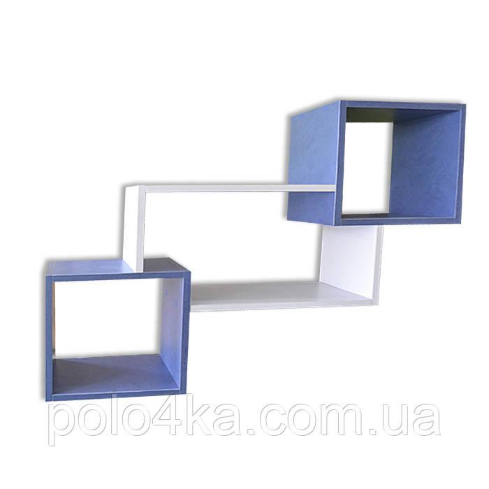 Полка настенная Тройная ДСП синяя/белая/синяя
