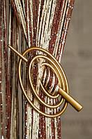 Заколка для  нитяных  штор классик овал золото матовая