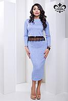 Элегантный женский голубой костюм с юбкой  Нирвана Luzana 42-44 размеры