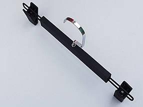 Плечики вешалки тремпеля  для брюк и юбок матовый-1 Soft-touch черного цвета, длина 32 см, фото 2