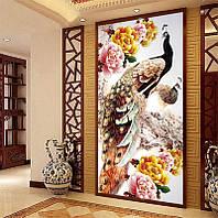 """Картина для рисования камнями Diamond painting Алмазная вышивка """"Павлины и цветы"""" 1 м, фото 1"""