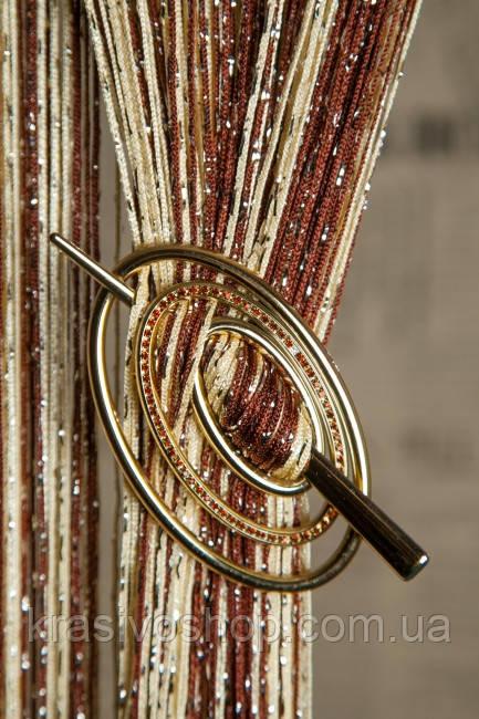 Заколка для  нитяных  штор Премиум Овал золото глянец