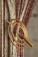 Заколка для нитяных штор Премиум Овал золото матовое