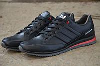 Мужские кожаные кроссовки Adidas Porshe 12063 черные
