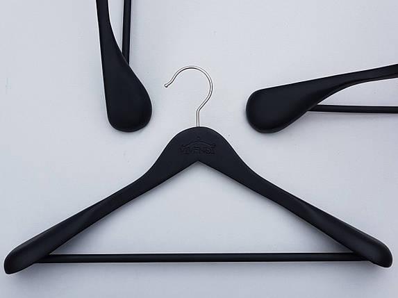 Длина 45 см. Плечики вешалки тремпеля деревянные черного цвета широкие, покрытие  soft-touch, фото 2