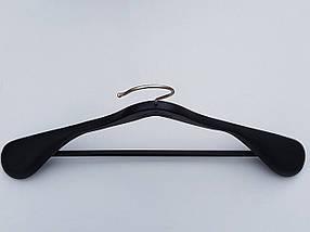 Длина 45 см. Плечики вешалки тремпеля деревянные черного цвета широкие, покрытие  soft-touch, фото 3