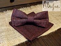 Набор тканевой бабочки с нагрудным платком бордового цвета Классик1