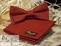 Набор тканевой бабочки с нагрудным платком бордового цвета в горошек Классик1