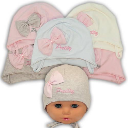 Детские шапки из трикотажа на завязках, Y106
