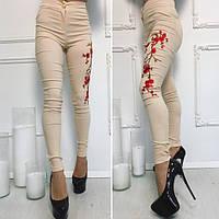 Брюки женские облегающие с цветами вышивка,ткань джинс бенгалин