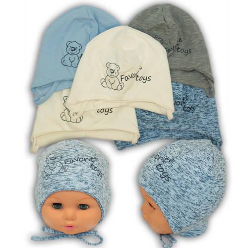 Детские шапки из трикотажа на завязках, Y105