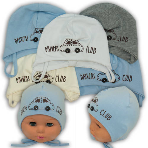 Детские шапки из трикотажа на завязках, Y107