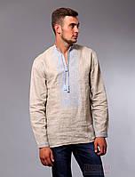 Мужская рубашка вышиванка бежевого цвета с голубой вышивкой, фото 1
