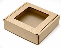 Коробка для печенья, пряников, с окном, 20 см х 20 см х 3 см, крафт, микрогофрокартон