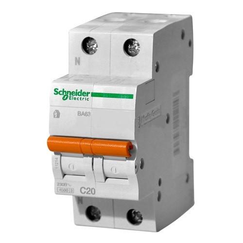 Автоматический выключатель ВА63 1П+Н 20A C Schneider Electric