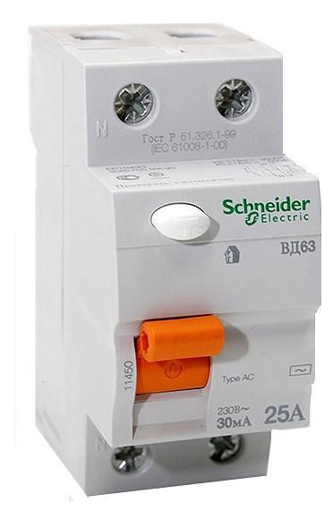 Диф. выключатель нагрузки (УЗО) ВД63 2П 25A 30МA Schneider Electric