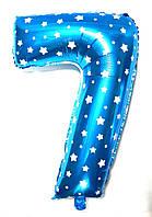 Фольгированная цифра 7 голубая со звездочками 80 х 54 см