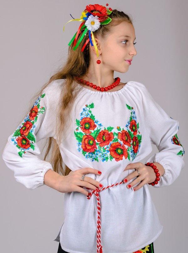 Вишиванка для дівчинки Волошка (рукав 3/4) , зростання 128-152