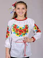 Вышиванка для девочки Летний букет (рукав 3/4) , рост 128-152