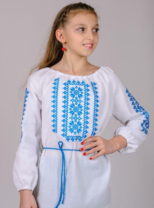 Вишиванка для дівчинки Орнамент (блакитний) , зростання 128-152