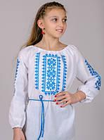 Вышиванка для девочки Орнамент (голубой) , рост 128-152