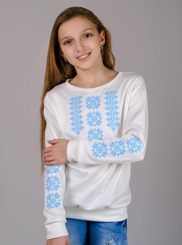 Трикотажна блузка-вишиванка (ніжно-блакитний орнамент) , зростання 134-152