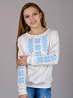 Трикотажная блузка-вышиванка (нежно-голубой орнамент) , рост 134-152