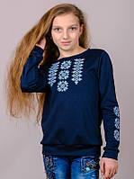 Трикотажный свитшот-вышиванка (темно-синий) , рост 134-152