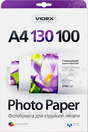 Videx Фотобумага HGA4 130/100 Глянцевая односторонняя А4 100 листов