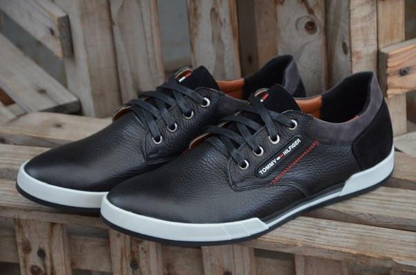 Мужские кожаные кеды (кроссовки) черные Tom..Half.. - купить по ... cf0590bb7ff25