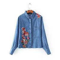Рубашка женская вышитая NNT 872 Джинсовые рубашки с вышивкой