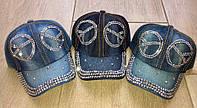 Джинсовые кепки,бейсболки со стразами ХИППИ