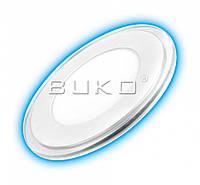 LED Светильник встраиваемый стекло BUKO WT9020 9W (круг) 4000K (синяя подсветка)