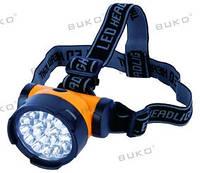 LED Фонарь налобный BUKO WT384 19LED оранжевый 3*AA