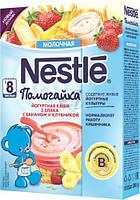 Молочная йогуртная каша Nestle Помогайки мультизлаковая с бананми и клубникой с 8 месяцев 200 гр.