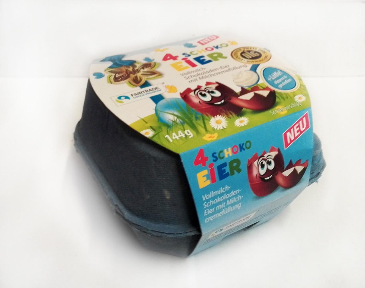Шоколадные яички в лотке Goldora «4 Schoko Eier» c молочным кремом внутри, 144 г.