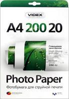 Videx Фотобумага HGA4 200/20 Глянцевая односторонняя А4 20 листов