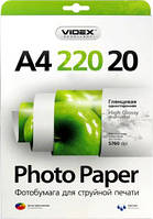 Videx Фотобумага HGA4 220/20 Глянцевая односторонняя А4 20 листов