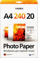 Videx Фотобумага HGA4 240/20 Глянцевая односторонняя А4 20 листов