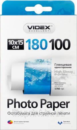 Videx Фотобумага HGA6 180/100 Глянцевая односторонняя 10x15 100 листов