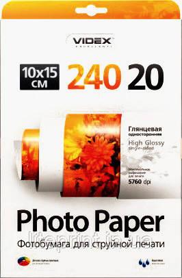 Videx Фотобумага HGA6 240/20 Глянцевая односторонняя 10x15 20 листов