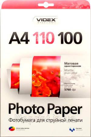 Videx Фотобумага MKA4 110/100 Матовая односторонняя А4100 листов