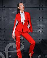 Элегантный женский костюм с необычным пиджаком цвет красный
