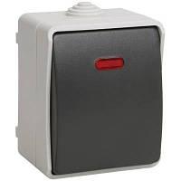 Выключатель одноклавишный с свет. инд. для внешней установки IP54