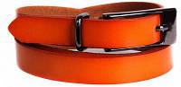 Яркий женский узкий ремень из натуральной кожи кт6587 оранжевый ДхШ: 115х2 см.