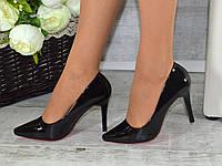 """Туфли лодочки """"Классика"""" черные лаковые на каблуке код 5-108"""